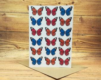 Butterfly card, painted butterflies A6 handmade card