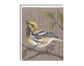 Yellow Bird on Burlap Notecard - Bird Card - Bird Stationery