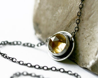Honey Quartz Necklace, Faceted Honey Quartz, Rose Cut Honey Quartz Necklace