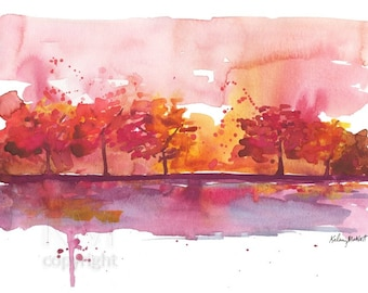 Autumn Dream - Watercolor Painting Print, Orange and Red Fall Landscape