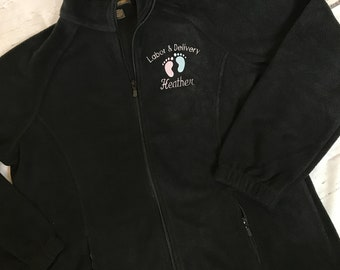 Labor and Delivery Jacket -  Personalized RN Jacket - LPN - Black Fleece Jacket - Labor & Delivery