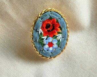 Vintage micromosaic brooch, mosaic brooch, rose and flower pin, Italian mosaic brooch, floral brooch