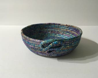Blue, Purple and Gold Metallic Coiled Rope Bowl, Batik Fabric Bowl, Catchall Basket, Organizer Basket, Yarn Bowl, Quiltsy Handmade