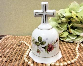 Bell Porcelain Floral Moss Rose Pink Cross Handle Gold Trimmed Vintage blm