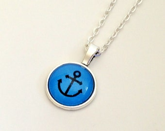 "NEW - 18mm Glass Cabochon Pendant - Nautical design - choose your color -18"" Plated OR Ball chain"