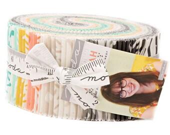"SALE Fabric Moda Savannah Jelly Roll 2.5"" Precut Fabric Quilting Cotton Strips Gingiber 48220JR"