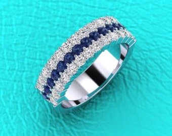 3 row Diamond and Sapphire band