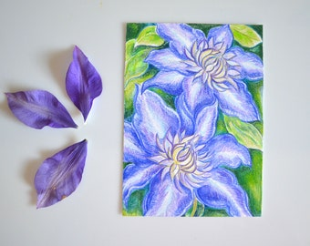 "Purple Clematis Flower Original Color Pencil Drawing - 5x7"" Flower Art - Wall Art - Small Gift - Hand Drawn Flowers"