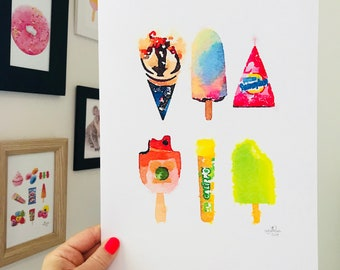 Iconic Australian Print - Ice Cream Treats that make you smile.  A4 Size Designed and Printed in Australia.