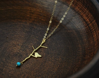 Bird on Twig Gold Necklace - Bird Necklace, Dainty Necklace, Minimal Necklace, Unique Necklace, Simple Necklace, Turquoise, Amethyst Stones