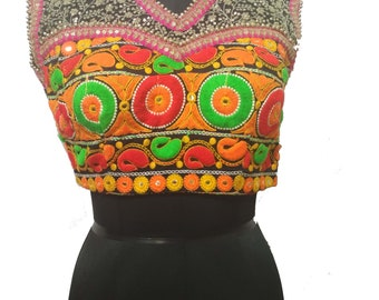 Ethnic  Banjara Indian Gujarat  Embroidered Mirror Work Choli top jacket multi color bllouse choli thread work with kutch embroidery blouse.
