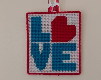 Blue Love Plastic Canvas Wall Hanging