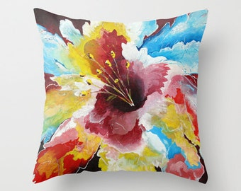 Floral Pillow Cover, Throw Pillows Red Blue Yellow Decorative Pillows for Couch, Hibiscus Pillow, Tropical Pillow, Cushions, Accent Pillows