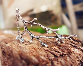 Silver Branch Necklace, Silver Tree Necklace, Antique Silver Pendant Necklace, Silver Charm Necklace, Long Silver Necklace for Women Gift