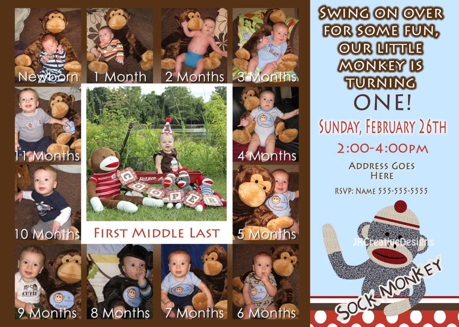 Sock Monkey Invitation Boy Sock Monkey Invite 1st Birthday