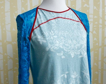 NEW Sunbeam Blouse, choose your size, in hand printed ice blue recycled jersey with bright blue lace and red rickrack
