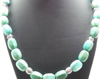 Handmade Turquoise Barrel beaded necklace.