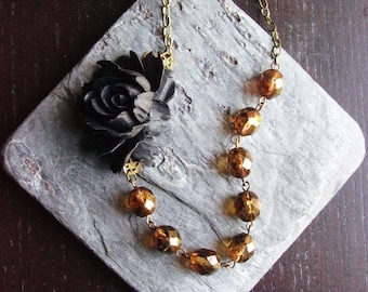 Amber beaded necklace, black rose necklace, fall necklace, asymmetric necklace, flower necklace, holiday gift ideas, unique Christmas gift
