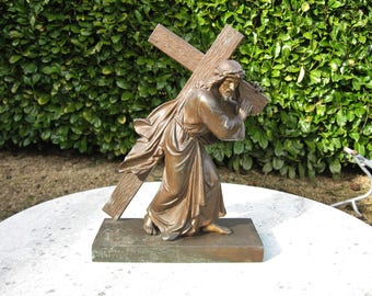 A Vintage French Bronzed  Cross Figure Of Christ Carrying The Cross