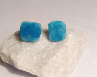 Turquoise slice square clay earrings