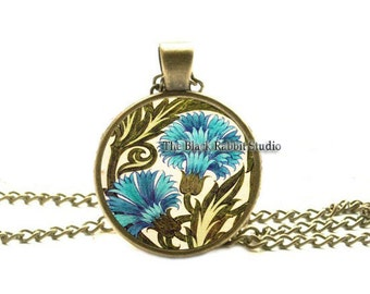Art Deco Jewelry, Art Deco Pendant, Blue Flower Pendant, Floral Hypoallergenic Pendant,  Art Deco Flower Pendant, key chain key ring key fob