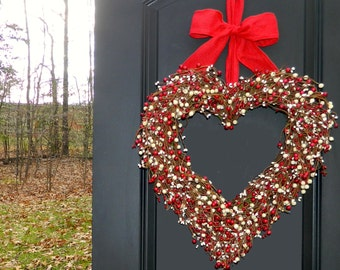 Red Heart Wreath - Valentine Wreath - Valentine Gift -  Wreath - Large Wreath -