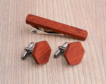 Wooden tie Clip Cufflinks Set Wedding Hexagon Cufflinks. Wood Tie Clip Cufflinks Set. Mens Wood Cuff Links | Groomsmen Cufflinks set.