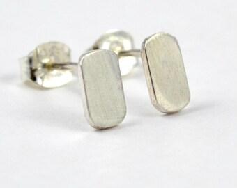 Flat Stud Earrings, Sterling Silver, Second Hole Earrings, Minimalist, Modern Earrings, Contemporary, Eco Friendly, Simple, Small Studs