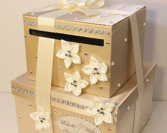 Wedding  Card Box 2 tier Champagne/Ivory  Gift Card Box Money Card Box Holder-customize your color