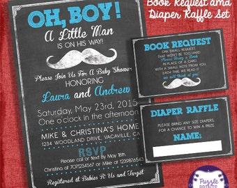 Mustache Baby Shower Invitation Set -Invite + Diaper Raffle Ticket + Book Request  - Chalkboard Style - I design you print