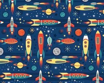Fabric, child, cosmic journey, cosmos, planets, rocket, stars, sky