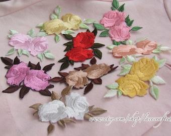 4 Colorful Rose Flower Embroidery Appliques Cotton Applique, Rose Patch, Iron on Applique