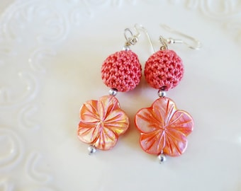 Crochet earrings, beaded earrings, chunky earrings, ready to ship, handmade, wooden beads, crochet beads, crochet jewelry