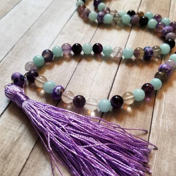 Blossom: Reiki Attuned Mala with Flourite and Blue Quartz