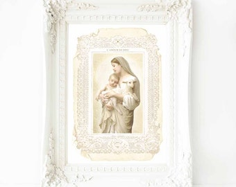 Madonna and child, religious French art print, lamb of God, A4 Giclee