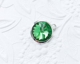 2 Birthstone Charms, August Birthstone, Peridot Green Gemstone, 21mm x 18mm, CRGL005