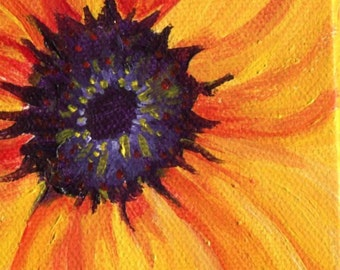 Original Sunflower Painting, Easel, Sunflower mini canvas art, acrylic painting sunflower decor, Mini sunflower acrylic painting