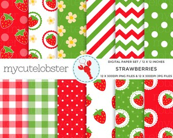 Strawberries Digital Paper Set - strawberry patterned paper, gingham, chevron, polka - personal use, small commercial use, instant download