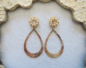 Woven by Ayumi creation yellow swarovski earrings