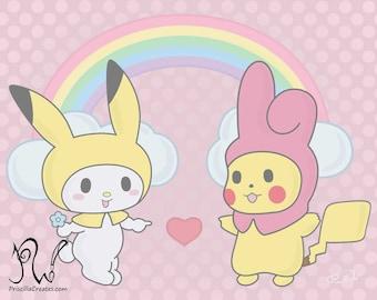 Pikachu and My Melody Dress Up Art Print