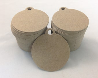 100 Count Circle Chipboard hang tags, price tags, favor tags, crafting tags