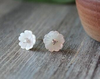 White lotus earrings