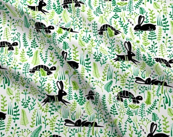 Tortoise And The Hare Fabric - Through The Meadow,Hare And Tortoise White By Analinea - Animals Cotton Fabric by the Yard with Spoonflower