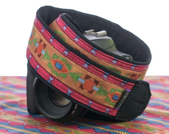 Southwestern Camera Strap, dSLR, Tribal, Pocket, Camera Neck Strap, Nikon or Canon Strap, SLR,Native American Inspired,   223