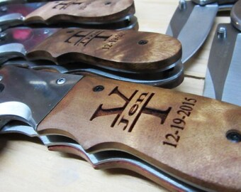 11th Anniversary Gift - Steel Anniversary - Stainless Steel Burl Wood Pocket Knife