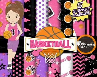 "Basketball Girl Digital Paper + Clipart : ""Pink Basketball Paper""- Basketball Clipart, Basketball Birthday Invitation, Basketball Printable"