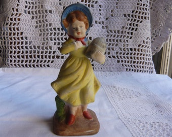 Porcelain biscuit figurine little parisian girl with yellow dress blue hat red shoes collectible 1920 made in France