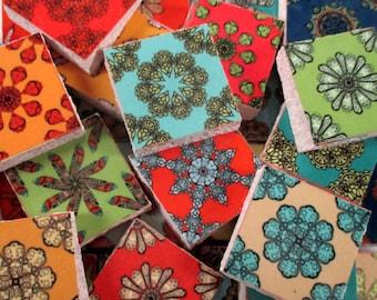 Ceramic Mosaic Tiles - Bright Colors Boho Moroccan Mosaic Tile Pieces - Medallions - 35 Pieces - Mosaic Art / Mixed Media Art/Jewelry