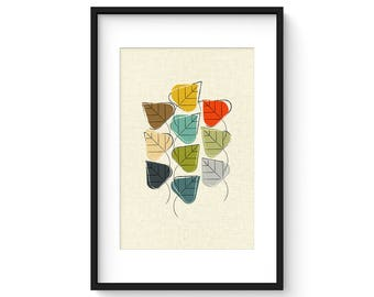 STILL IN LEAF - Giclee Print - Mid Century Modern Danish Modern Minimalist Cubist Modernist Eames Abstract