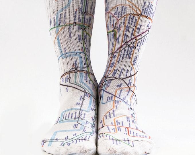 Samson® London Underground Hand Printed Socks Tube Metro 3D Sublimation Crew Street Town England Quality Print UK